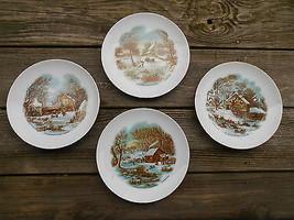 Old Vintage Set Lot 4 Currier & Ives Winter Scene Plates Home Decor Coun... - $19.99