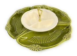 Vtg Serving Set Lazy Susan MCM California Pottery 996/997 Avocado Green & white - $39.59