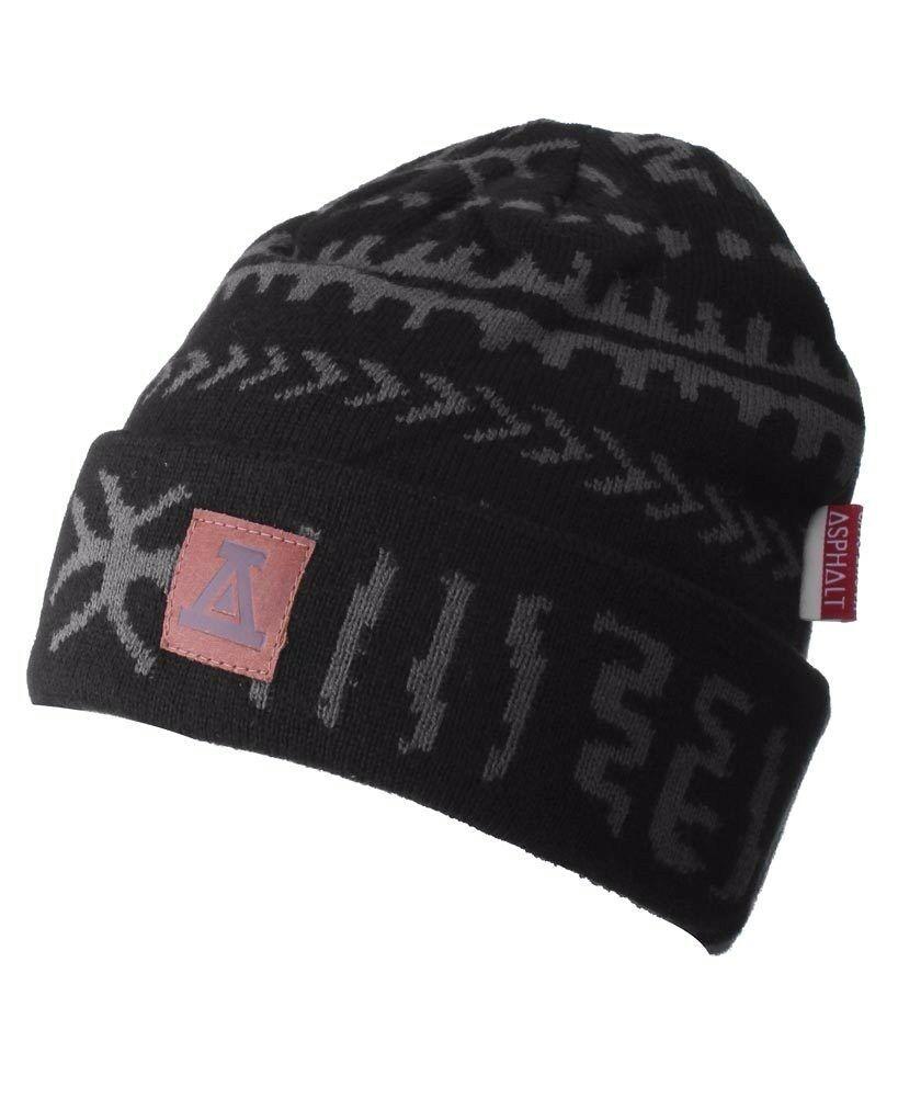 Asphalt Yacht Club Black Gray Arcane Cuff Beanie Skate Winter Hat AYC1410822 NWT