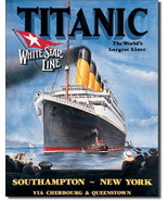 Titanic White Star Maiden Voyage Poster Tin Sign Reproduction, NEW UNUSED - $5.94