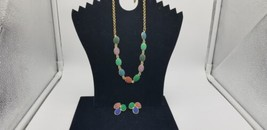 Vintage Gold Tone With Multi Color Plastic Floral Designs Necklace & Ear... - $29.02