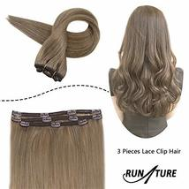 RUNATURE Clip in Human Extensions Real Brazilian Clip Extensions 20 Inches, 3pcs image 3