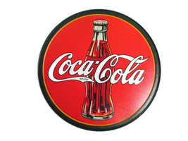 Coca-Cola Metal Tin Contour Bottle Disc Sign with Coca-Cola Logo- BRAND NEW - $14.85