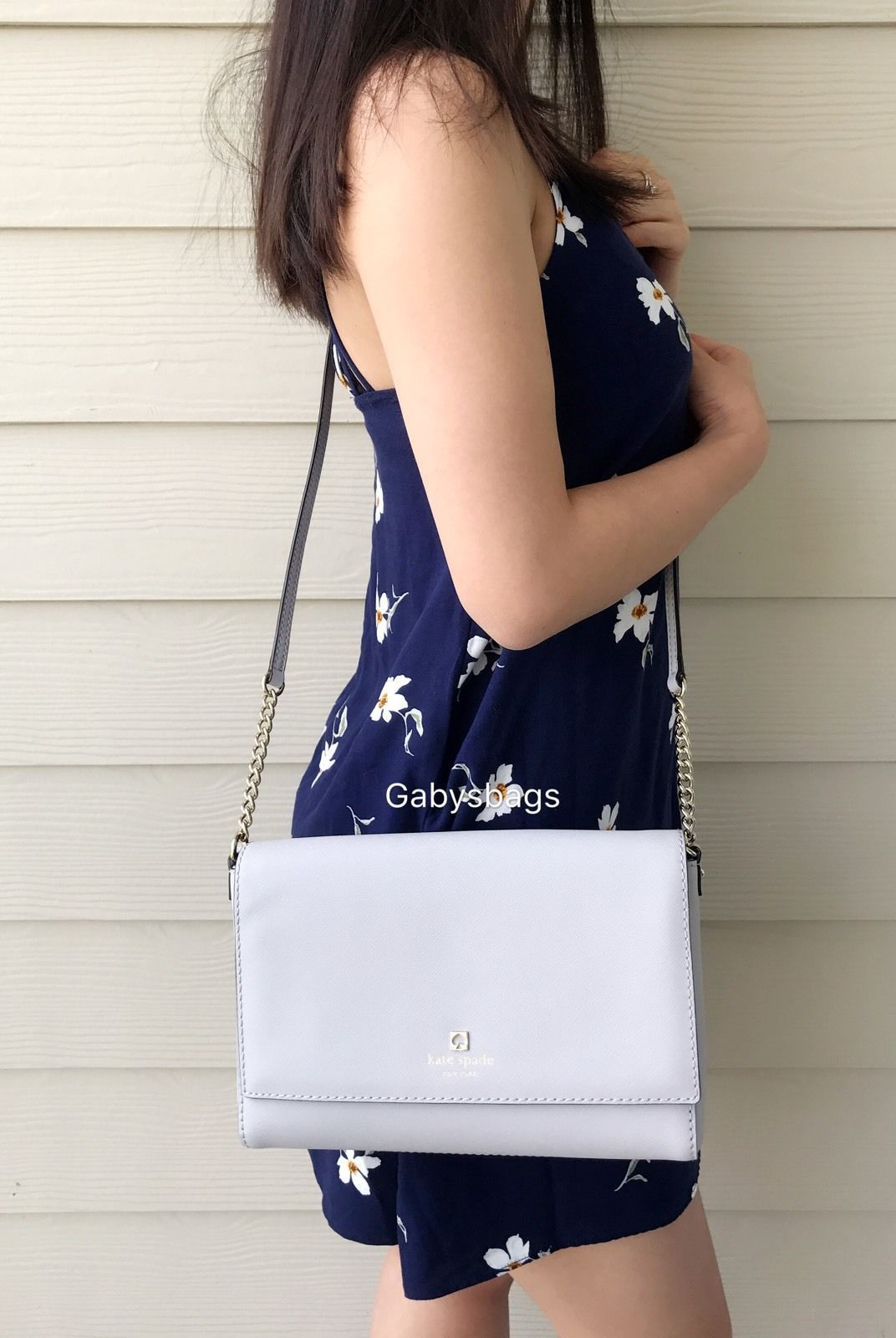 954aa350e54 S l1600. S l1600. Previous. Kate Spade Charlotte Street Alek Stoneice  Crossbody Shoulder Bag Light Gray