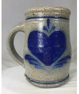"Rowe Pottery Blue Heart Beer Mug Stein Salt Glazed Stoneware 5.5"" Wisconsin - $36.27"