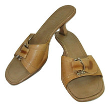 Franco Sarto Sandals Size 10 Slides Womens Brown Leather Buckle - £10.32 GBP