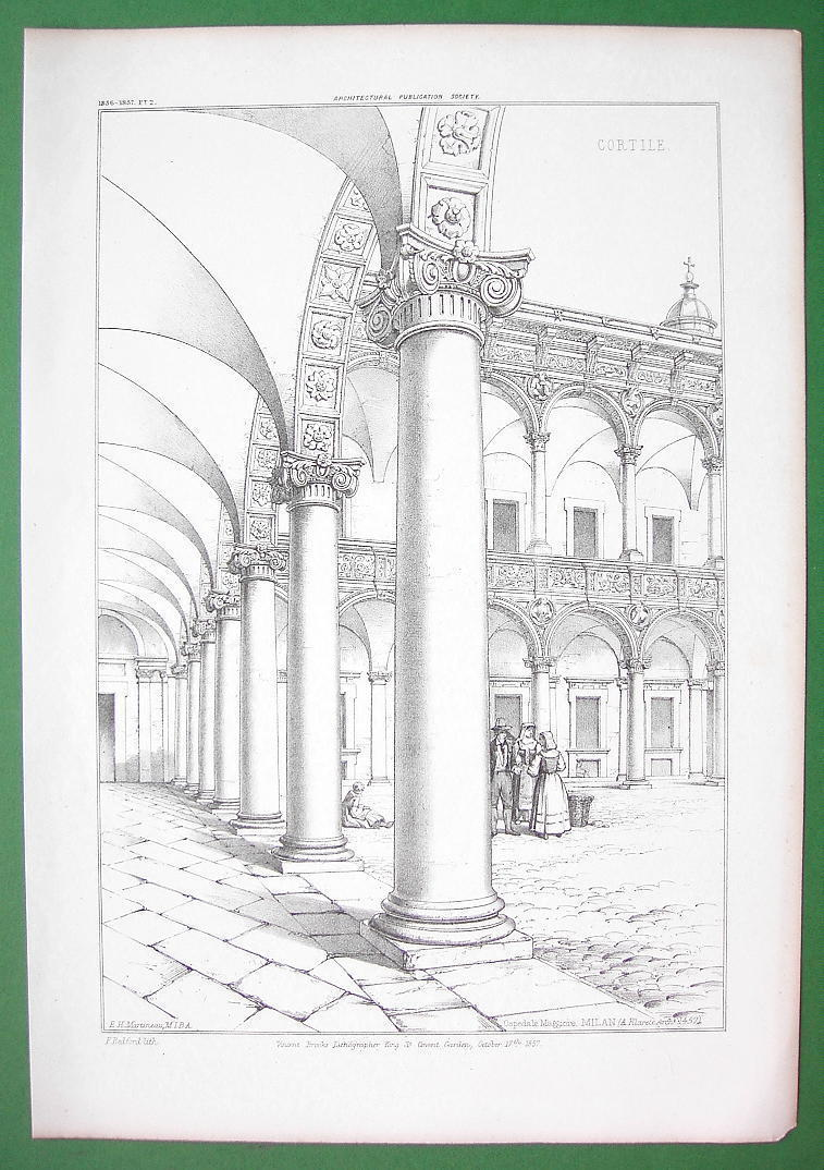 ARCHITECTURE PRINT : ITALY Courtyard Arcade at Ospeda le Maggiore at Milan