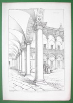 ARCHITECTURE PRINT : ITALY Courtyard Arcade at Ospeda le Maggiore at Milan - $25.20