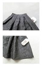 Women Black A-line Midi Skirt Outfit Plus Size High Waist Party Skirt  image 6