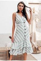Vintage striped women long dress summer V neck buttons ruffle linen dresses Holi