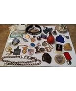 JUNK DRAWER LOT 40 items curiosities, dog chain, ski buttons, bone, bell... - $15.00