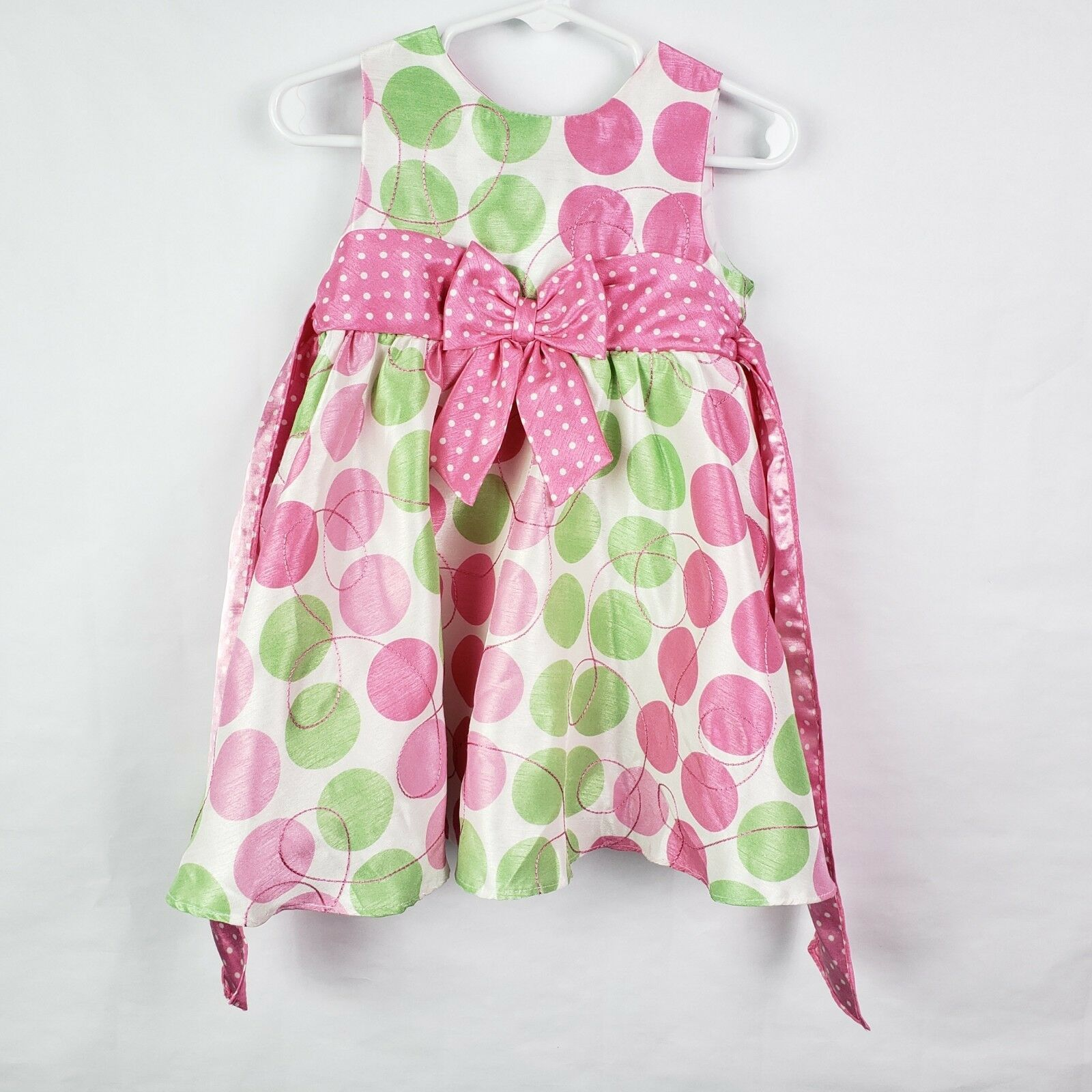 Primary image for Rare Editions Toddler Girls Dress 18M White Pink Green Dots Sleeveless Ribbon