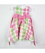 Rare Editions Toddler Girls Dress 18M White Pink Green Dots Sleeveless R... - $12.78