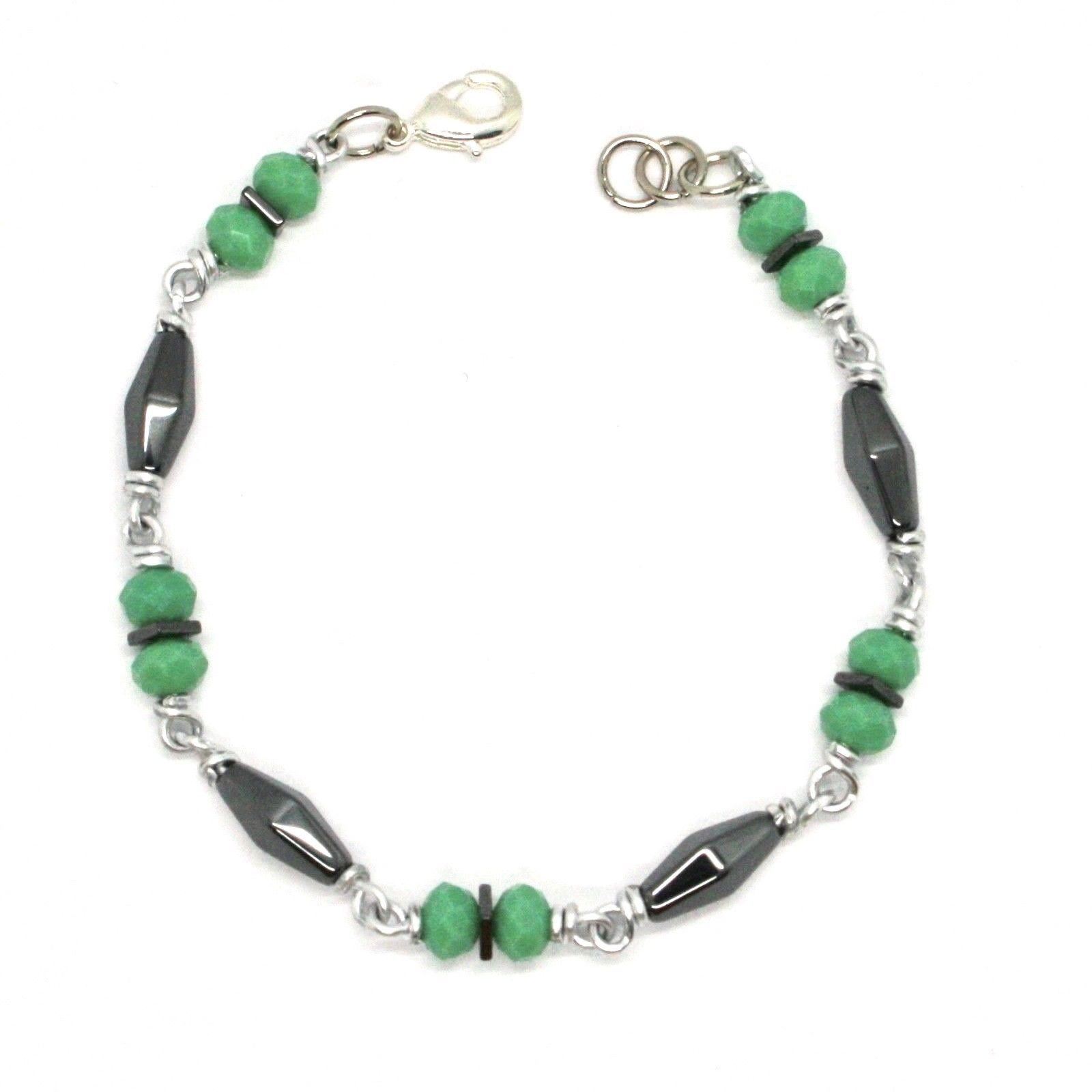 BRACELET THE ALUMINIUM LONG 19 CM WITH HEMATITE AND CRYSTAL GREEN