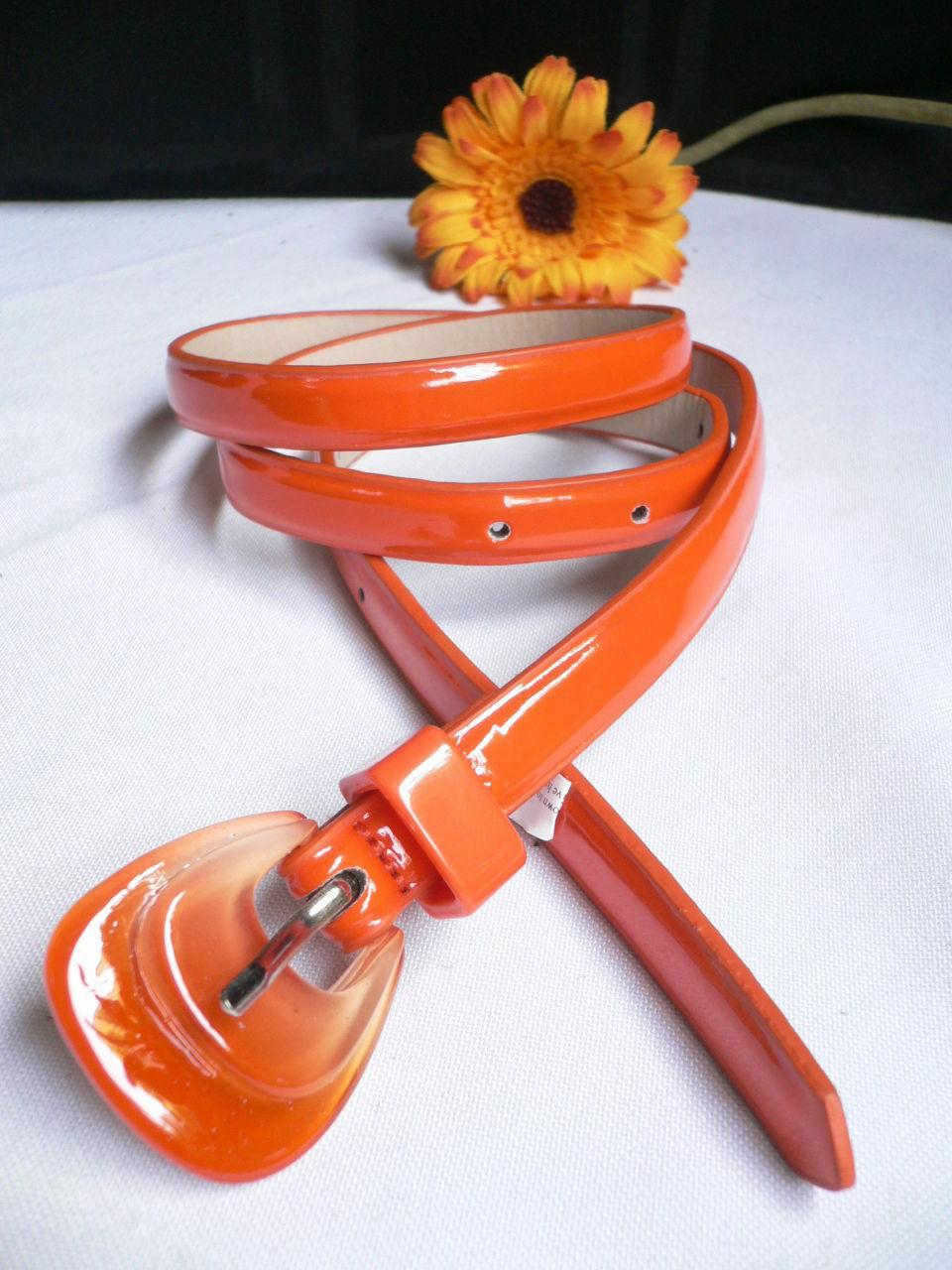 Neu Damen Mode Gürtel Trendy Skinny Hell Orange Kunstleder Schnalle S M image 9