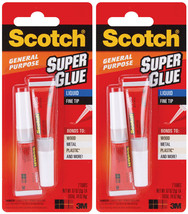 Lot of 2 Two Packs of Scotch General Purpose Super Glue Gel Tubes 0.07oz / 2 gr