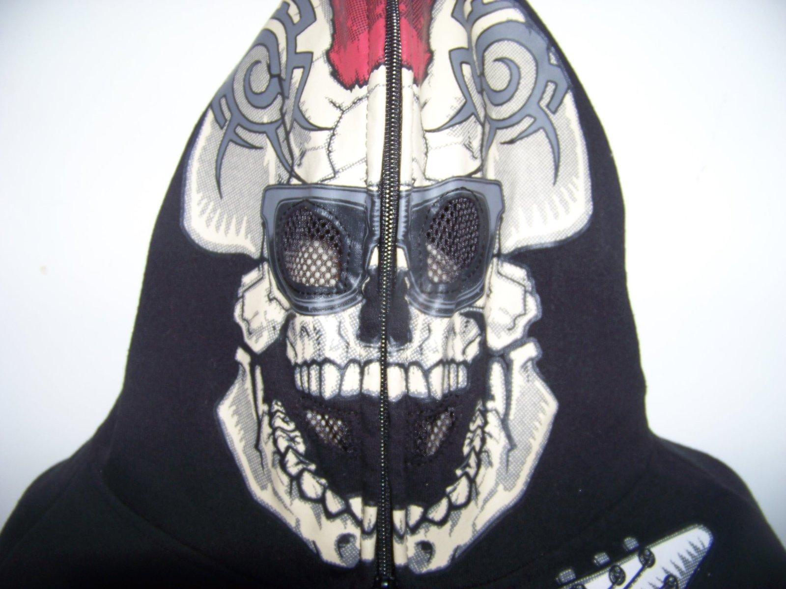 Halloween Skeleton hoodie w zip face mask boys XL