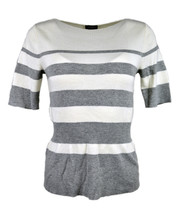 Ann Taylor Womens Grey White Ribbed Boat Neck Peplum Sweater Small $59 4... - €23,39 EUR