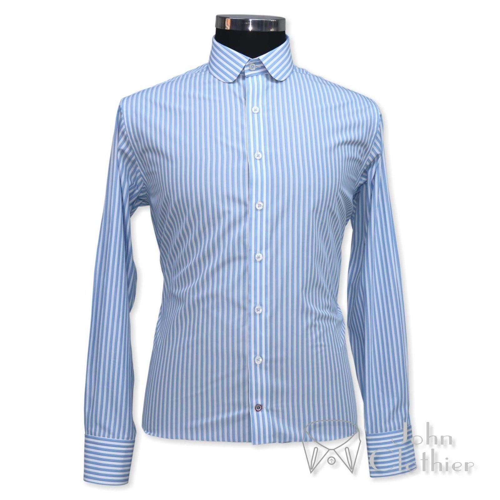 Mens Penny collar Cotton shirt Bankers Sky Blue White stripes Gents Club Round wtbcXK5zT