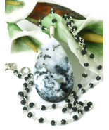 White Dendritic Opal Pendant Black Spinel Sterling Necklace - $69.00