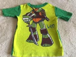 Teenage Mutant Ninja Turtles Boys Green Leo Snug Short Sleeve Pajama Shi... - $5.95