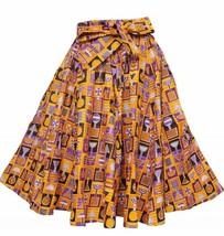 Falda Fit M L XL 1X 2X Plus Impresión de Cera Africana Ankara Naranja Pú... - $31.67