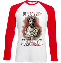 Marcus Aurelius The Happiness - New Red Sleeved Tshirt - $26.53