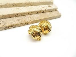 St. John Chunky Elegant Gold Tone Statement Hoop Clip On Earrings S14 - $36.99