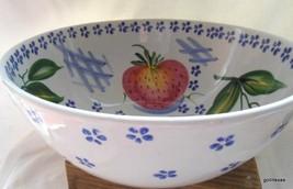 "Ancora Italy Large Salad Bowl  Fruit Pear Apple Cherries  Blue Flowers 12"" - $25.00"