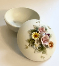 Vintage Lefton Porcelain Floral Circle Trinket Bowl Lid. Hand Painted Art Decor - $11.00