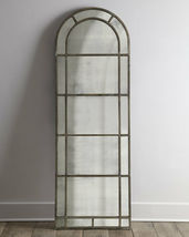 "83"" Arched Mirror Antique Glass Restoration French Industrial Hardware H... - $650.43"
