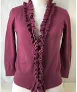 Ann Taylor Loft Womens Cardigan Sweater Purple Long Sleeve V Neck Ruffle... - $9.89