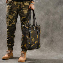 Sale, Canvas Men Tote Bag, Camouflage Shoulder Bag, Vintage Men Messenger Bag image 3