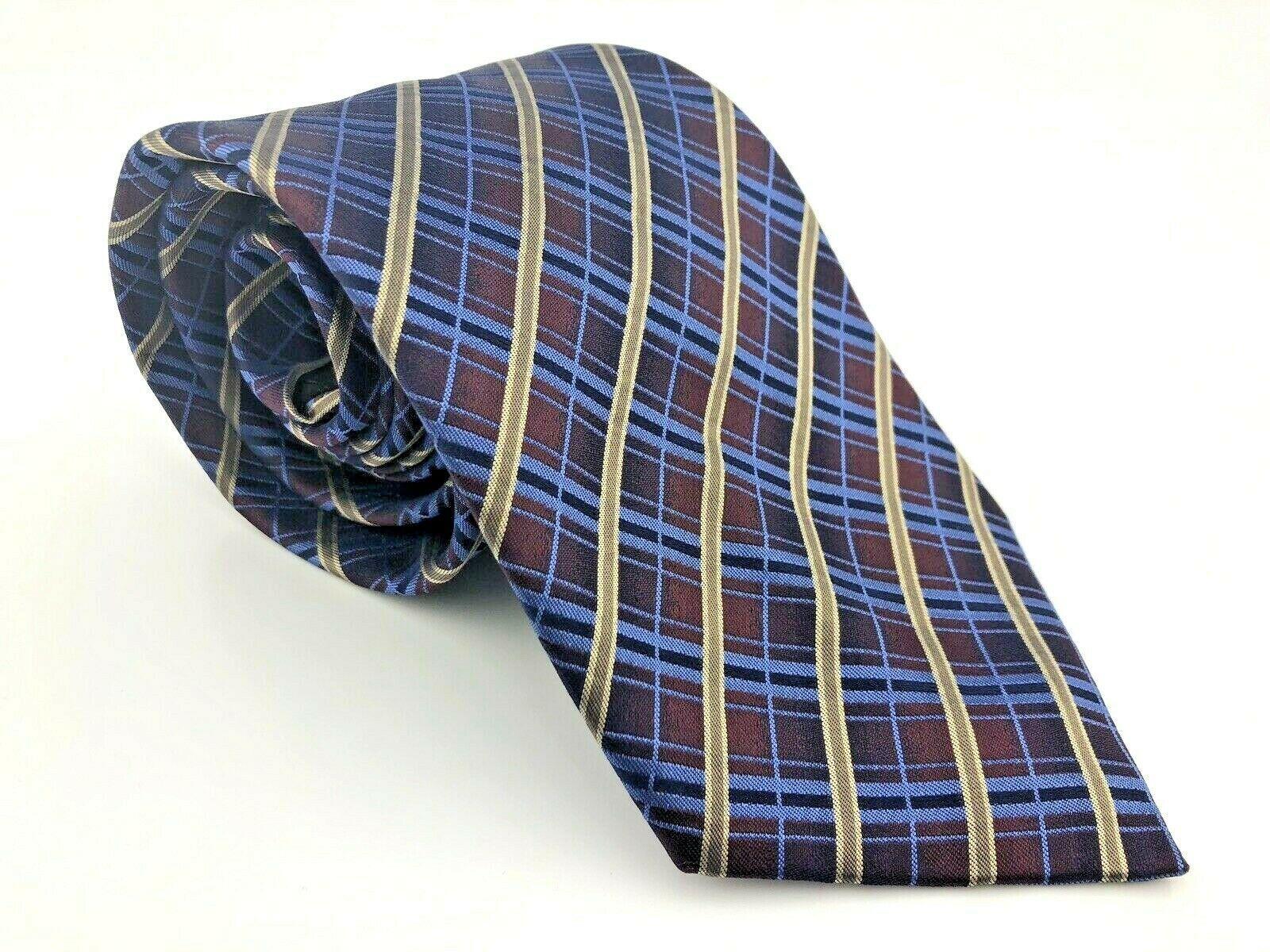 Kenneth Cole New York Multi-Color Blue Maroon Beige 100% SILK Handmade Neck-Tie