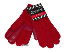 9cc598b3e Isotoner Signature Women's Gloves Red Cable Knit SmarTouch Casual Warm  $36 -