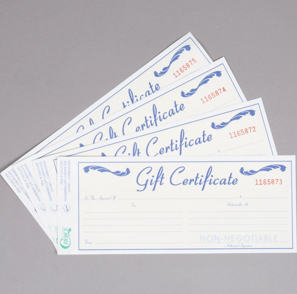 GIFT CERTIFICATES BOOK ,Gift Certificate with Envelope - 100/Pack FAST SHIPPING
