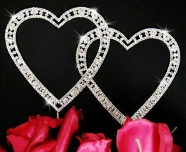 Large Crystal Double Heart Vintage Style Wedding Cake Topper - $22.77