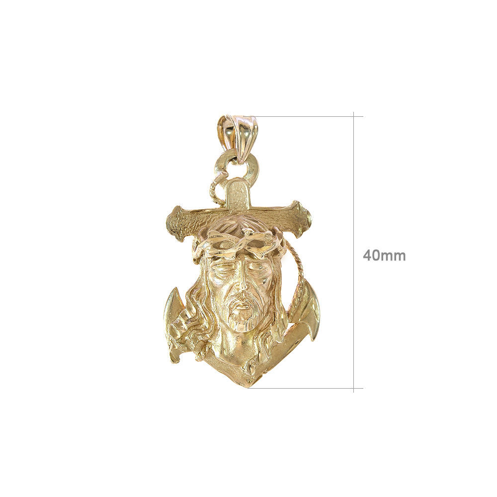 14K Yellow Gold Jesus Head Anchor Pendant Necklace