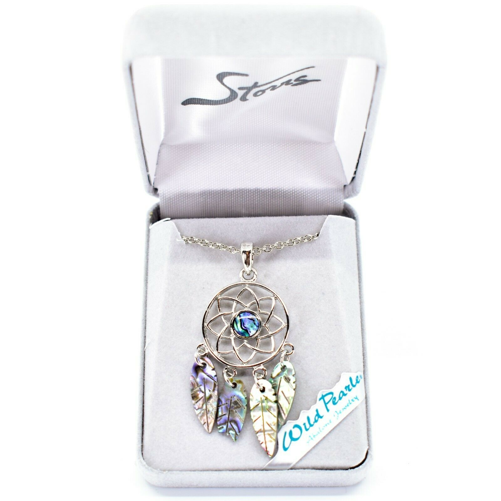 Storrs Wild Pearle Abalone Shell Dreamcatcher Pendant w Silver Tone Necklace