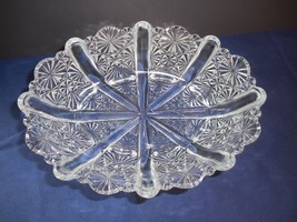 """Vintage Fenton Daisy and Button Clear Oval Bowl Footed Dish  8""""   1930's  GLOWS - $15.99"""