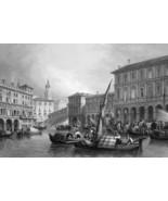 ITALY Venice Grand Canal Rialto Bridge - 1864 Fine Quality Print Engraving - $58.50