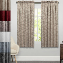 "Flora Scrolling Leaf Jacquard Single Tailored Window Curtain Panel 63""x52"" - $24.39"