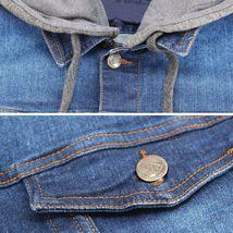 Boy's Kids Classic Button Up Removable Hood Slim Fit Stretch Denim Jean Jacket image 15