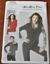 Pattern Vogue Designer Top Fitted Pullover Katherine Tilton V8793 Uncut - $14.35