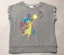 Disney Store Girls 9 10 Inside Out Gray Joy Sweatshirt Lined Short Sleeve - $7.99