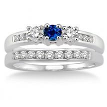 14K White Gold Fn  2Ct  Sapphire & Sim Diamond Three Stone Trilogy Bridal set  - $99.99