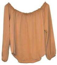 Forever 21 Women's Camel Brown Off-the-Shoulder Sheer Blouse Size S image 2
