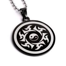 Yin Yang Halskette Schwarz Edelstahl Anhänger Tai Chi Kampfsport Charm Kette - $6.85