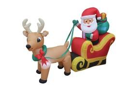 6 Foot Christmas Inflatable Santa Claus Reindeer Sleight Yard Outdoor De... - €72,83 EUR