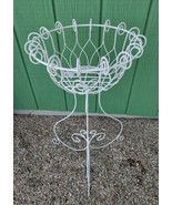 Twisted White Wrought Iron Plant Stand Indoor Outdoor Metal Flower Pot H... - $28.99